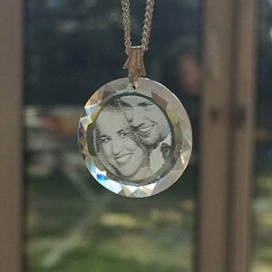 Collier Rond en Cristal de Swarovski gravé avec Votre Photo