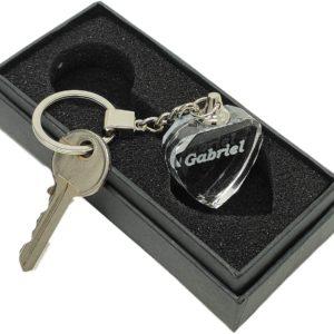 Porte-clé Coeur en Verre personnalisé avec Un nom ou Une Date par Laser en 3D