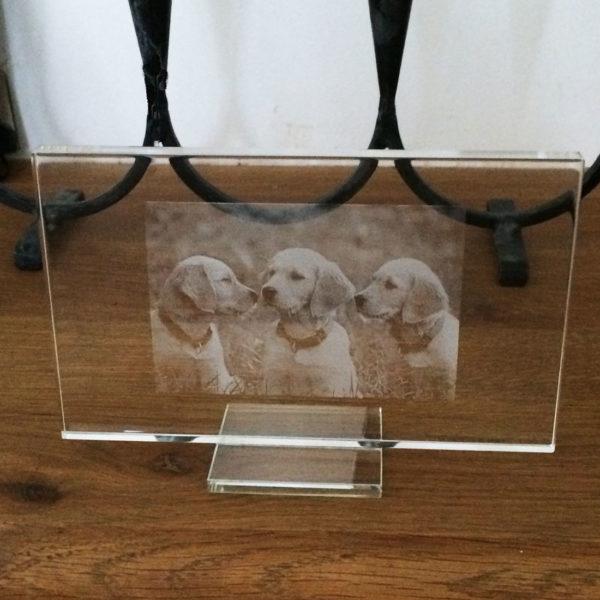cadre en verre gravé avec photo