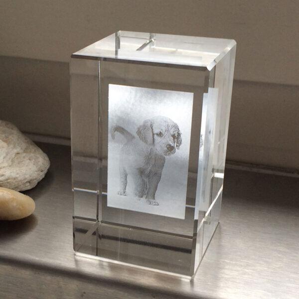 cube en verre gravé avec photo